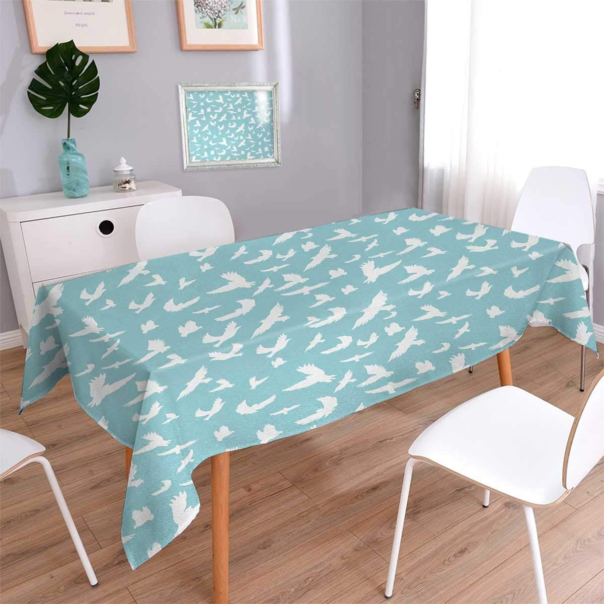 Blue Oblong Rectangular Tablecloth Flying Birds Open Wings Silhouettes Clear Summer Sky Hovering Feathered Animals Oblong Wrinkle Resistant Tablecloth Light Blue White Size: W54'' x L72''