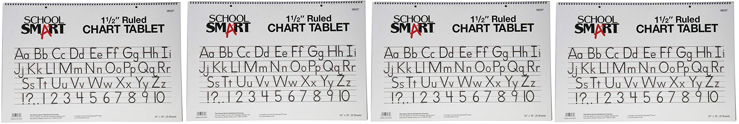 School Smart Chart Tablet, 24 x 16 Inches, 1-1/2 Inch Skip Line, 25 Sheets (4-(Pack))