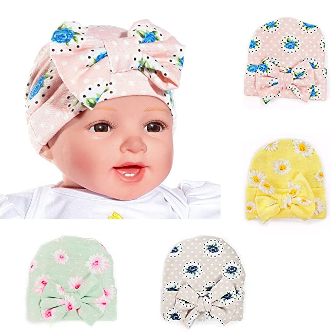 4343ea5fc79 Amazon.com  QIMOSHI 4 Packs Infant Newborn Hospital Hat Beanie Cap with Big  Bow  Clothing