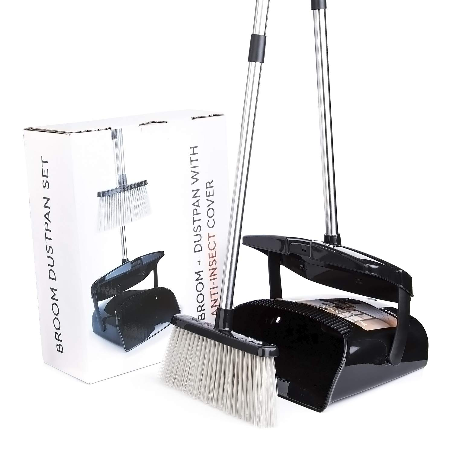 Broom and Dustpan Set with Lid [2019 New Design] Outdoor Indoor Broom Dust Pan 3 Foot Angle Heavy Push Combo Upright Long Handle for Kids Garden Pet Dog Hair Wood Floor Sweep Kitchen House (Black 02) by OLLSDIRE (Image #7)