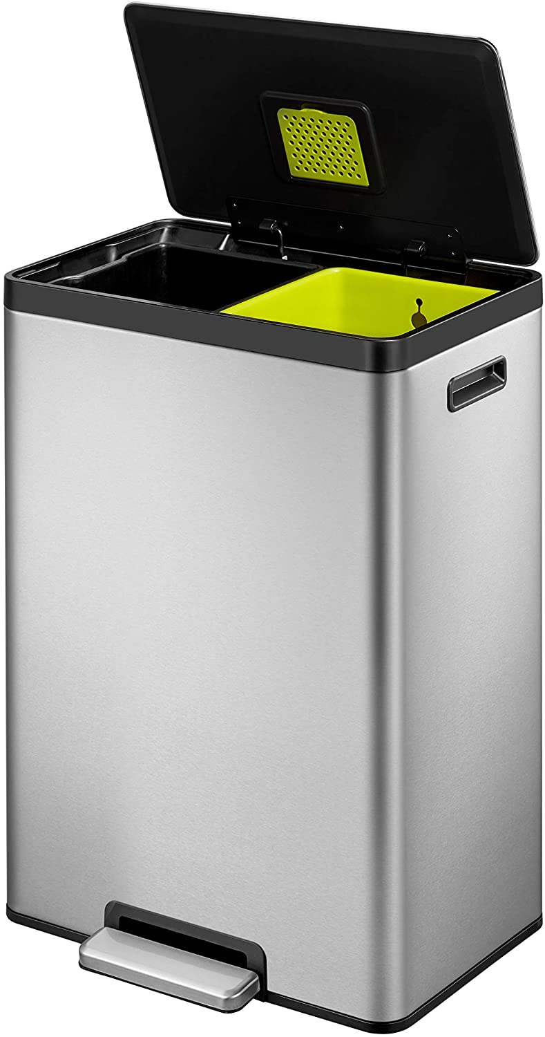 EKO EcoCasa II Dual Compartment Rectangular Kitchen Step Trash Can Recycler, 20L+20L, Brushed Stainless Steel Finish