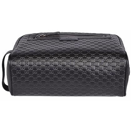33938fecfd982c ... Gucci Men s Leather Micro GG Guccissima Large Toiletry Dopp Bag (Black)  ...