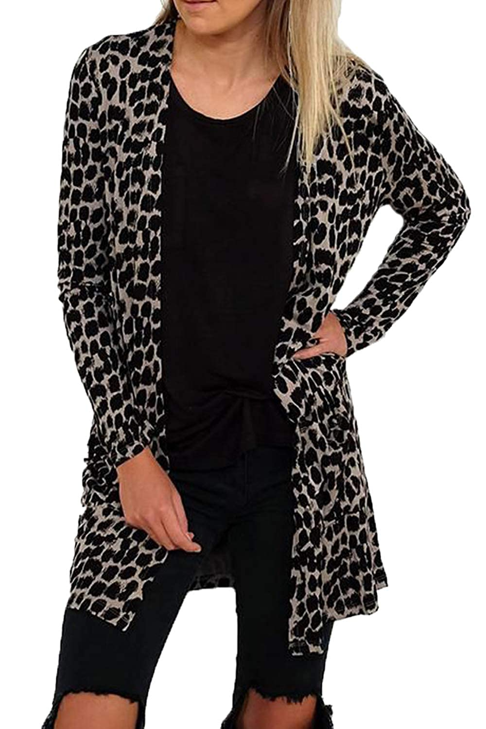 Suvotimo Womens Casual Open Front Long Sleeve Leopard Print Cardigan