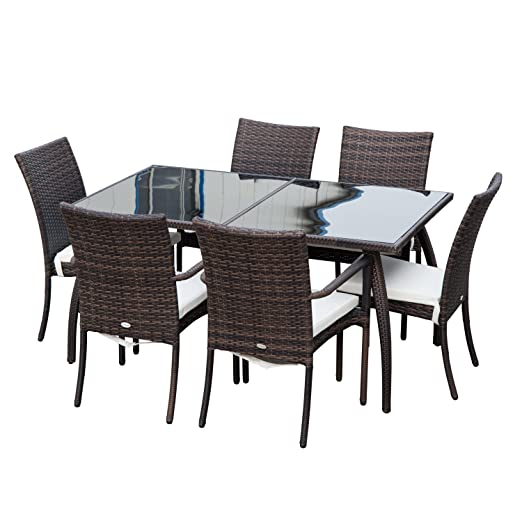 Set Da Pranzo In Rattan.Outsuny 7pc Rattan Dining Set 6 Wicker Weave Chairs Tempered