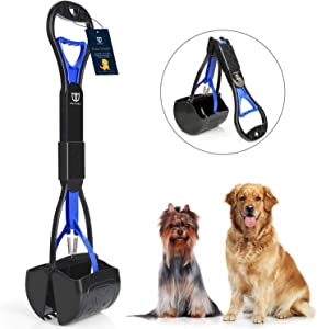 DEGBIT Non-Breakable Pet Pooper Scooper for Large and Small Dogs, Long Handle Portable Dog Pooper Scooper, High Strength Materials & Durable Spring, Easy to Use, Great for Lawns, Grass & Gravel