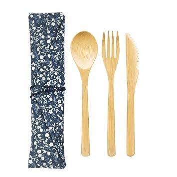 Velidy - Juego de 3 cubiertos de bambú natural, reutilizables de bambú para utensilios de