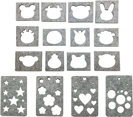 PH PandaHall Wool Felting Tool Kit Professional 6pcs Wool Felt Mold DIY Craft Template Stencil Beginner Hand Embroidery Craft Tool 1pc Wooden Handle and 15pcs 3 Sizes Felting Needles for Beginner