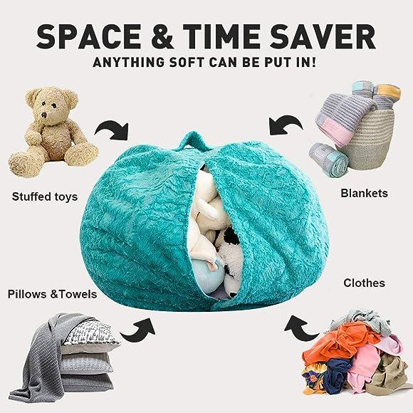 LUCKYBOY Faux Fur Stuffed Animal Storage Bean Bag Chair Toy Storage Bag Cover