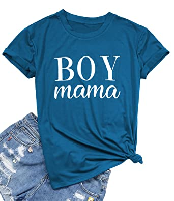 98b8d827d1dc FAYALEQ Blessed Mama Boy Mama Shirt Women Cute Letter Print Short Sleeve  Tops Tee for Mom