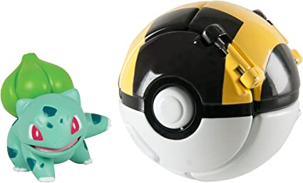 Ultra Ball Figure Set Tomy Pokemon Throw N POP Poke Ball Bisasam Bulbasaur