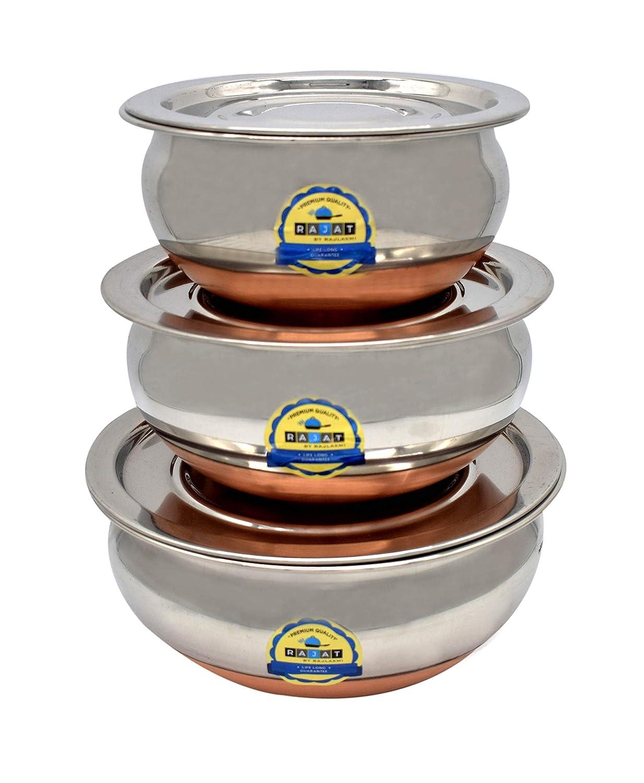 JCBB Stainless Steel best Copper bottom cookware handi pot set