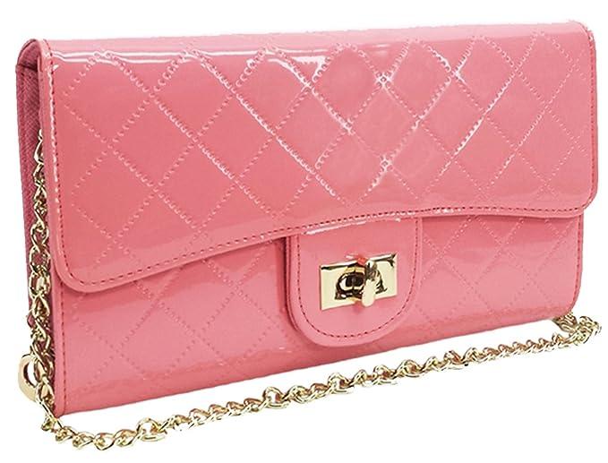16d58930e2b9 Amazon.com  womens rose pink chain convertible shoulder strap ...