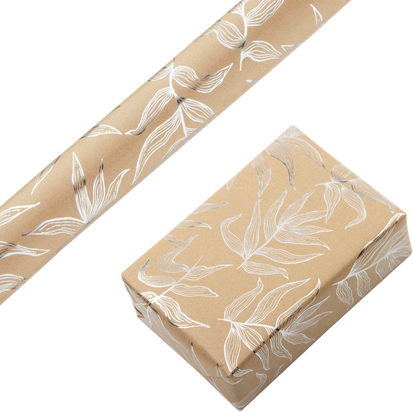 RUSPEPA Kraft Wrapping Paper Roll - Foil Silver Leaf Design Wrapping Paper for Wedding, Birthday, Shower, Congrats 1 Roll - 30 inches X 16 feet