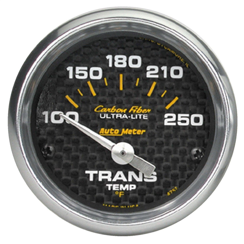 Auto Meter 4757 Carbon Fiber 2-1/16' 100-250 F Short Sweep Electric Transmission Temperature Gauge