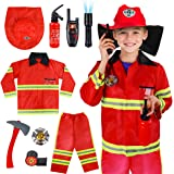 Meland Kids Fireman Costume Role Play Set - Firefighter Dress-up and Fireman Toys Accessories for Toddlers,Birthday Christma