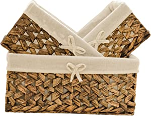 Rectangular Woven Seagrass Storage Bins with Handle,Kingwillow. (water hyacinth, Set of 3)