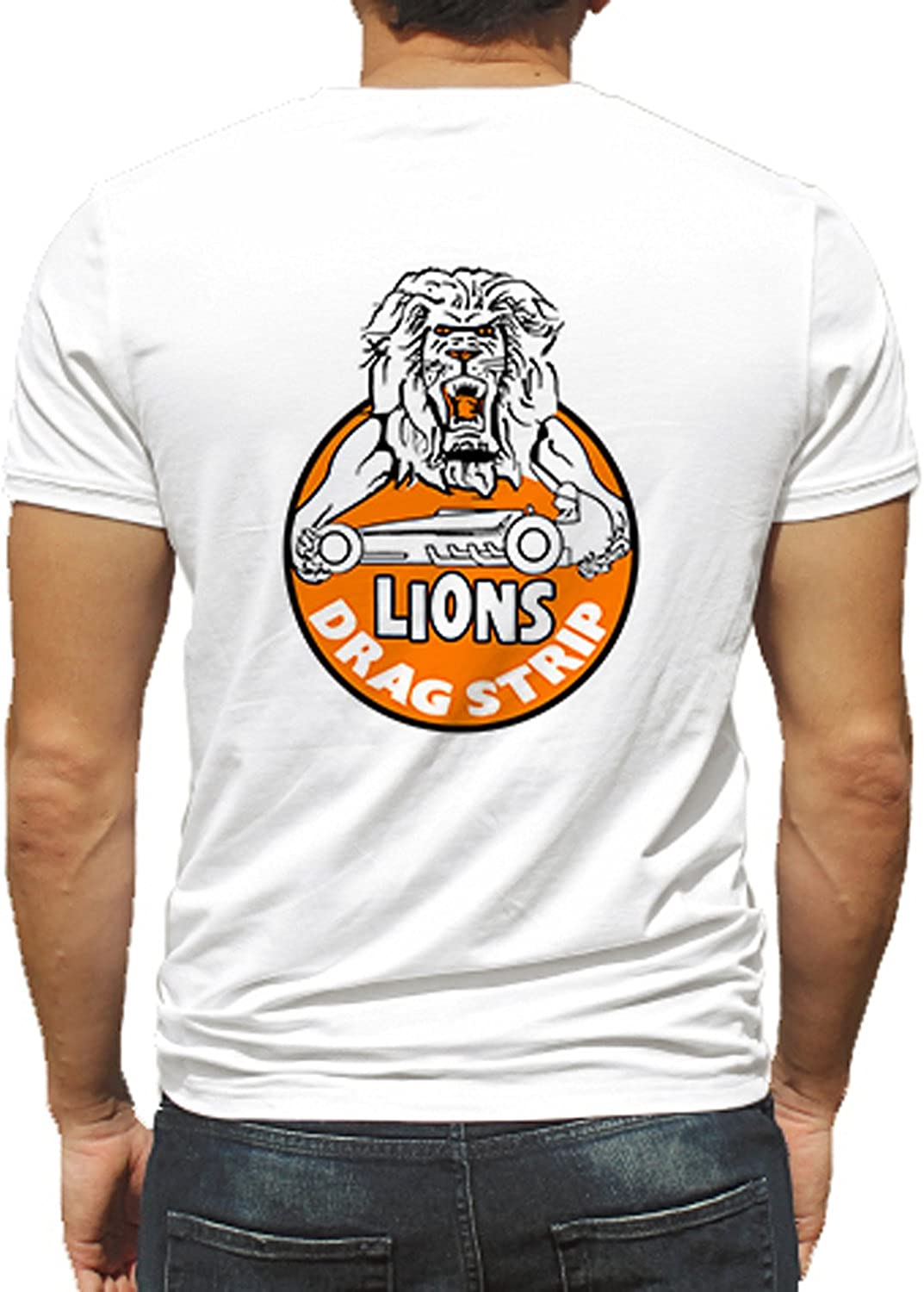 Lions Drag Strip Orange Lion's Arms Hot Rod Rat Nostalgia Drag Race Racing NHRA White Short Sleeve Shirt
