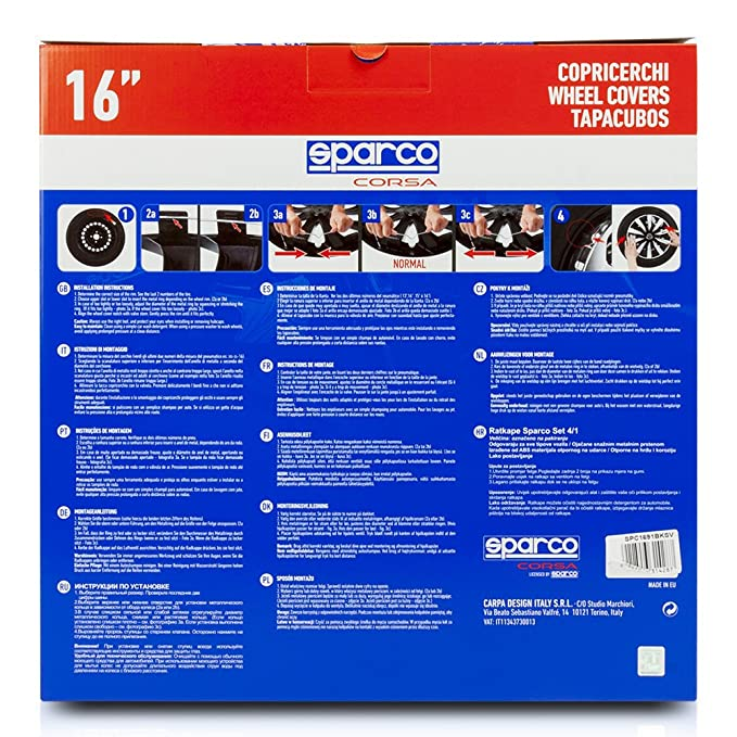 Amazon.com: Sparco SPC1691BKSV Wheel Covers Lazio 16-inch Black/Silver: Automotive