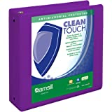 Samsill Clean Touch 3 Ring View Binder Protected by Antimicrobial Additive, Customizable Clear View Cover,3 Inch Round Rings, Purple