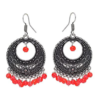 6c2da4153 Fashion Honor Indian Traditional Colorful Beaded Oxidised Silver Hoop  Earrings Jewelry Gift For Her, Girl, Women, Mother, Sister, Girlfriend,  Party Wear, ...