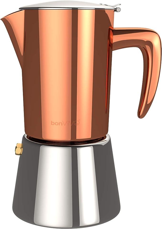 bonVIVO Intenca Cafetera Italiana Express De Inducción De Acero Inoxidable con Acabado Cobre, para Espresso con Mucho Cuerpo, Cafetera Moka Clásica, para 2 Tazas De Espresso: Amazon.es: Hogar