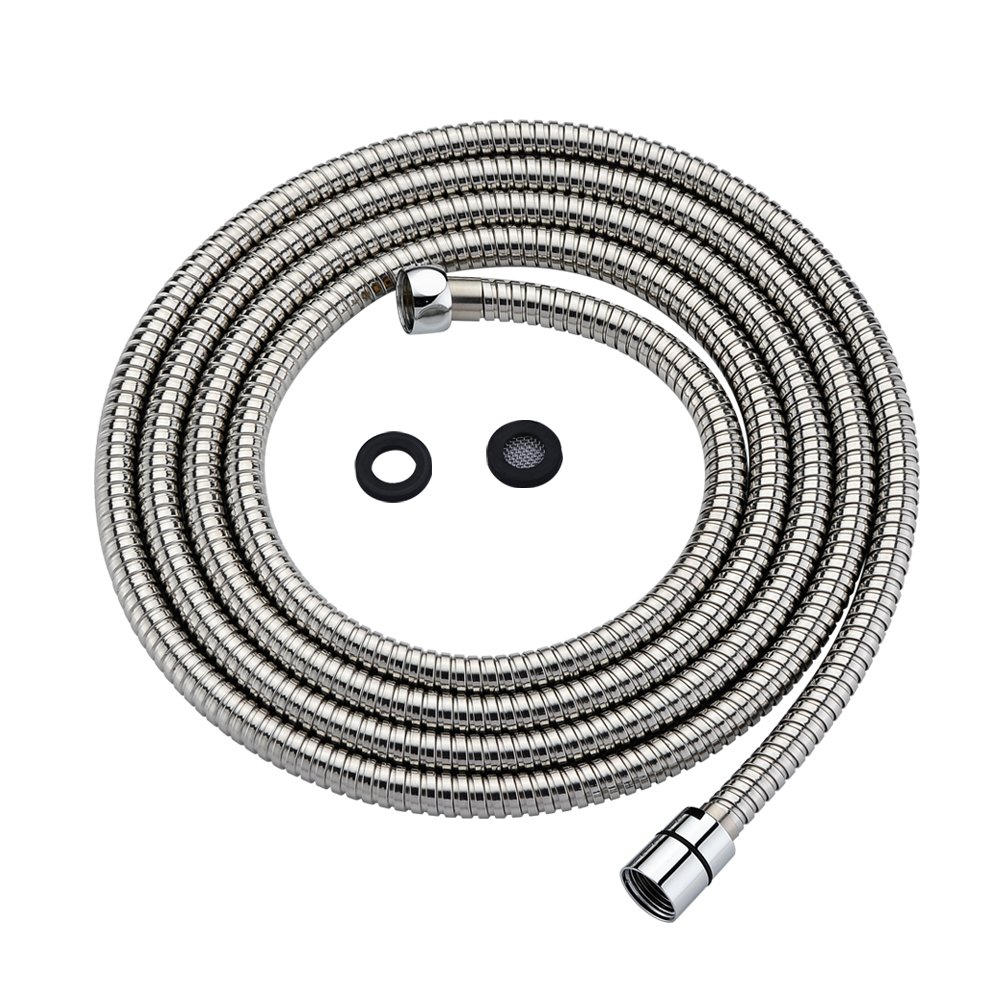 Purelux Shower Hose 118 Inches (3 meters) Flexible Stainless Steel Replacement Shower Hose with Brass Fittings, Polished Chrome