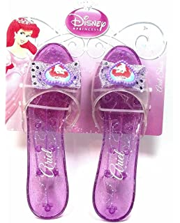 Disney Princess Collection Ariel Shoes Slippers Clear Purple with Sparkles for Children to Dress up As