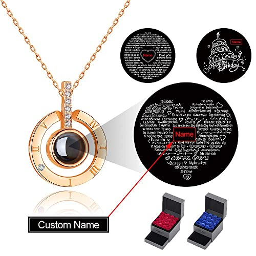 6b7295bf2 PAERAPAK Custom Love You Necklace - Personalized I Love You Necklace 100  Languages for Girlfriend Heart
