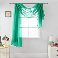 """MEMIAS Luxury Window Sheer Elegant Voile Curtain Scarf for Home, Birthday Party, Wedding Decoration, 1 Panel 54"""" W x 144…"""