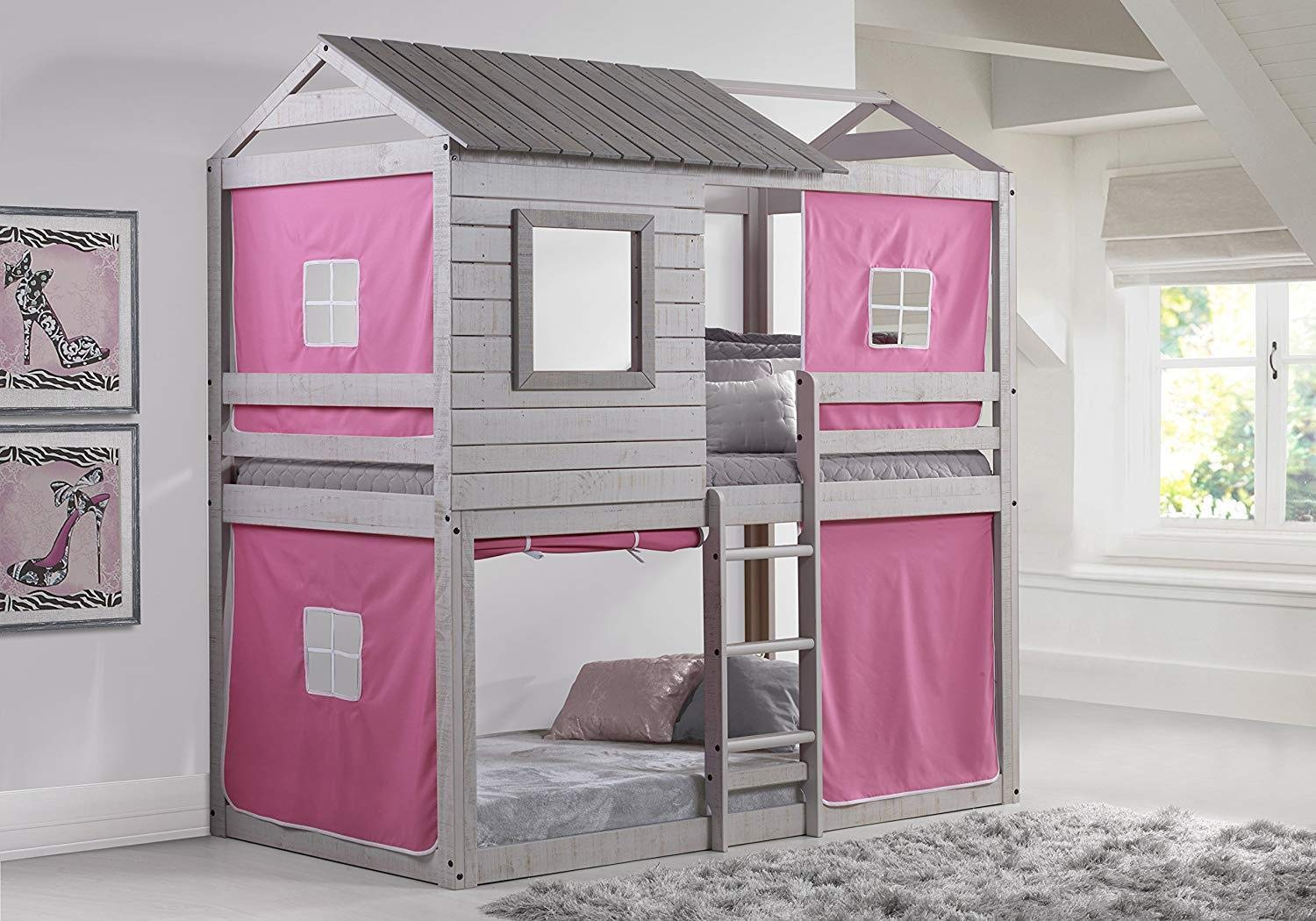 Donco Kids Deer Blind Bunk Loft Bed with Pink Tent, Twin/Twin, Light Grey by DONCO KIDS