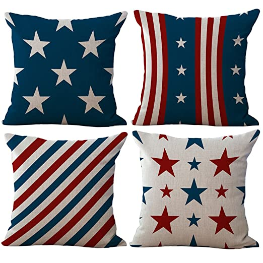 BQ Funda de almohada de estrellas y diseño de rayas rojo ...