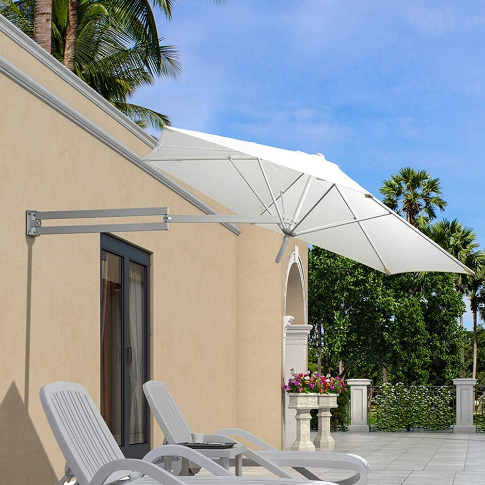 LHSUNTA Jardín al Aire Libre montado en la Pared Paraguas montado en la Pared Poste de Metal 250 cm Solar Led Arena Sombrilla de recreación al Aire Libre LDFZ: Amazon.es: Hogar