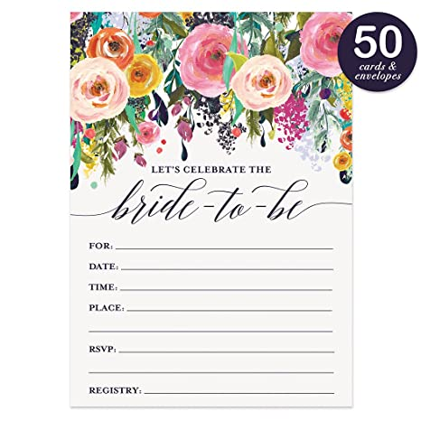 bridal shower invitations with envelopes pack of 50 beautiful fill in floral wedding