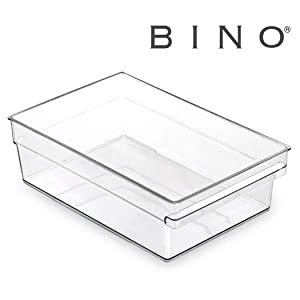 BINO Clear Plastic Storage Bin with Built-In Pull Out Handle - (Shallow, Large) - Storage Bins for Home, Kitchen, and Bath - Refrigerator, Freezer, Cabinet, Closet, Pantry Organization and Storage