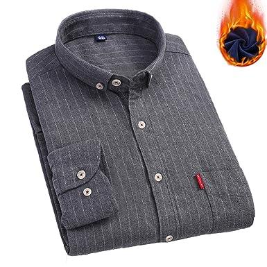 7170ba4842e219 Amazon | S.Flavor 裏起毛シャツ カジュアルシャツ メンズ 裏ボア 厚手 長袖 大きいサイズ 秋冬 あたたか スリム 暖 トップス  コットン | シャツ 通販