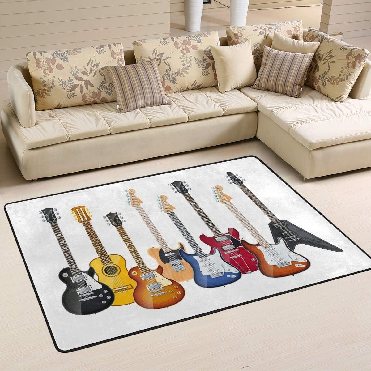WIHVE Electric Guitars Non Slip Area Rugs Living Room Carpet Bedroom Rug