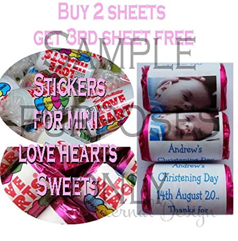Eternal Design 27 x Personalised Glossy Kids Birthday Stickers for Mini Love Heart Sweets KBLVHS 20