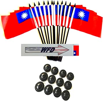 Pack Of 12 4 X6 Taiwan Polyester Miniature Office Desk Little Table Flags 1 Dozen 4 X 6 Taiwanese Small Mini Handheld Waving Stick Flags With 12 Flag Bases Flags With