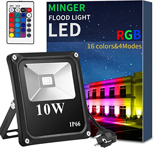 Minger Foco Proyector LED 10W RGB - Foco Proyector de Exterior LED ...