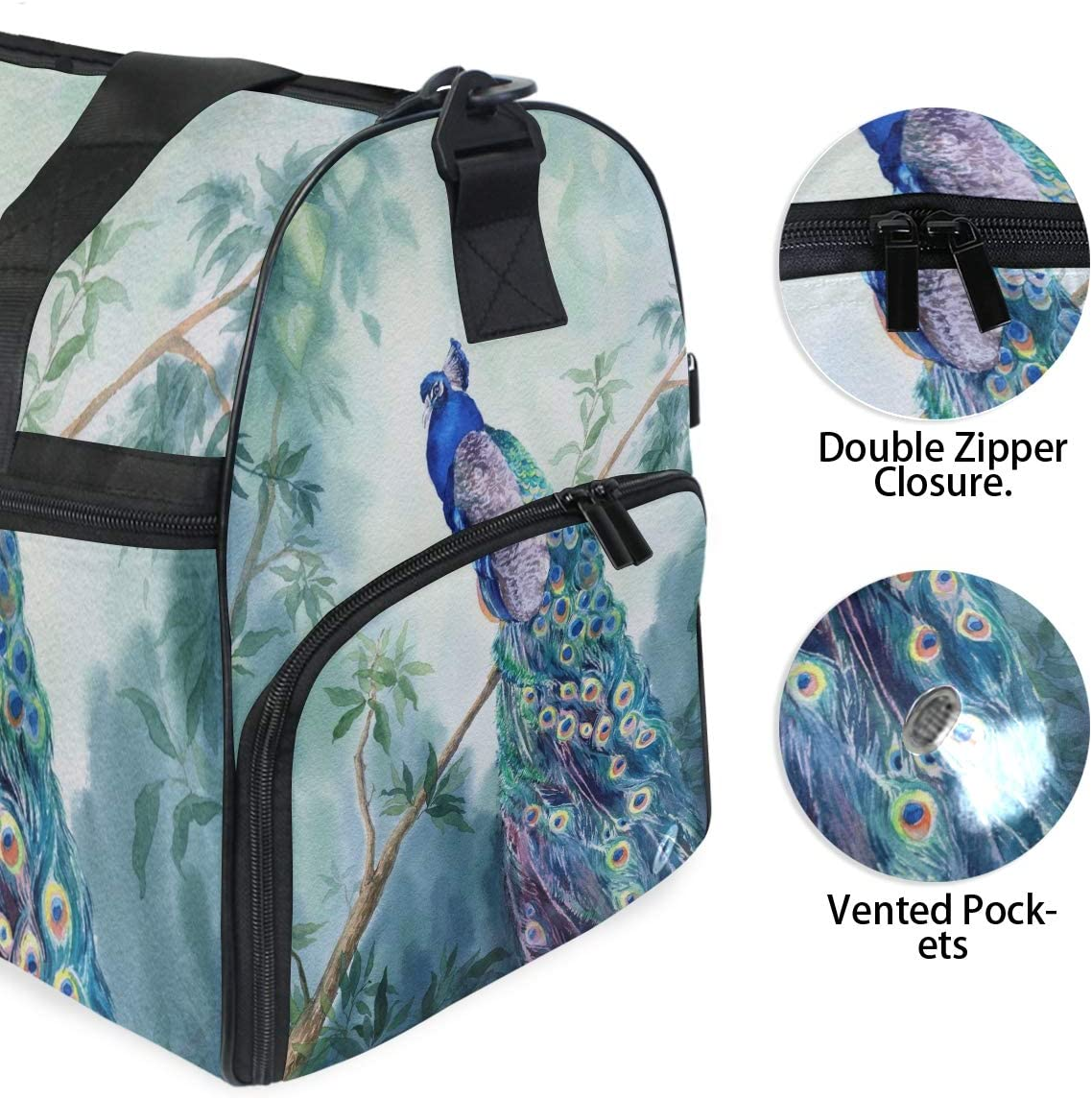 Paradise Garden With Peacock Sports Gym Bag with Shoes Compartment Travel Duffel Bag for Men and Women