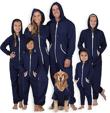 Footed Pajamas Family Matching Oxford Blue Adult Footless Hoodie Onesie -  Large Plus 2768edff5