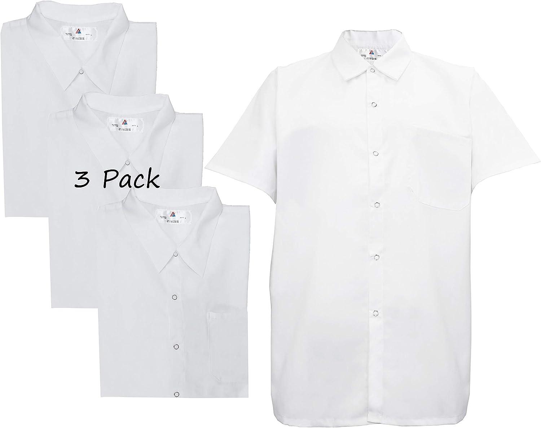 Natural Uniforms Men's Kitchen Basic Cook Shirt Short Sleeve White