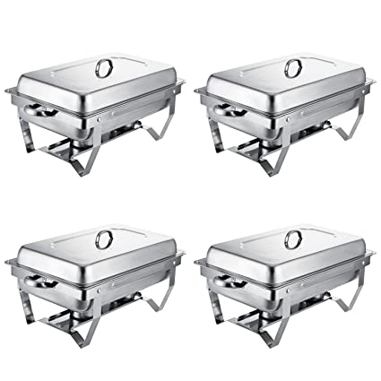 VEVOR Set Of 4 Chafing Dish 8 Quart Buffet Full Size Stainless Steel
