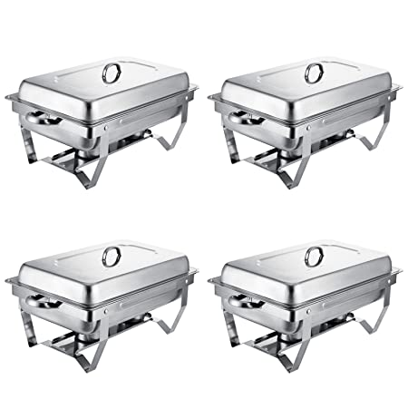 VEVOR Set of 4 Chafing Dish 8 Quart Chafing Dish Buffet Set Full Size Stainless Steel Chafing Dish with Folding Frame for Kitchen Party Dining Set of 4