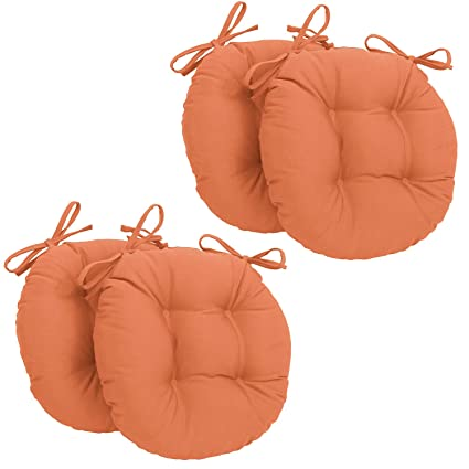 Cuscini Tondi Per Sedie Cucina.Corredocasa Set X4 Cuscini Per Sedia Rotondi Con Lacci Made In Italy Diametro 35 Cm Arancione
