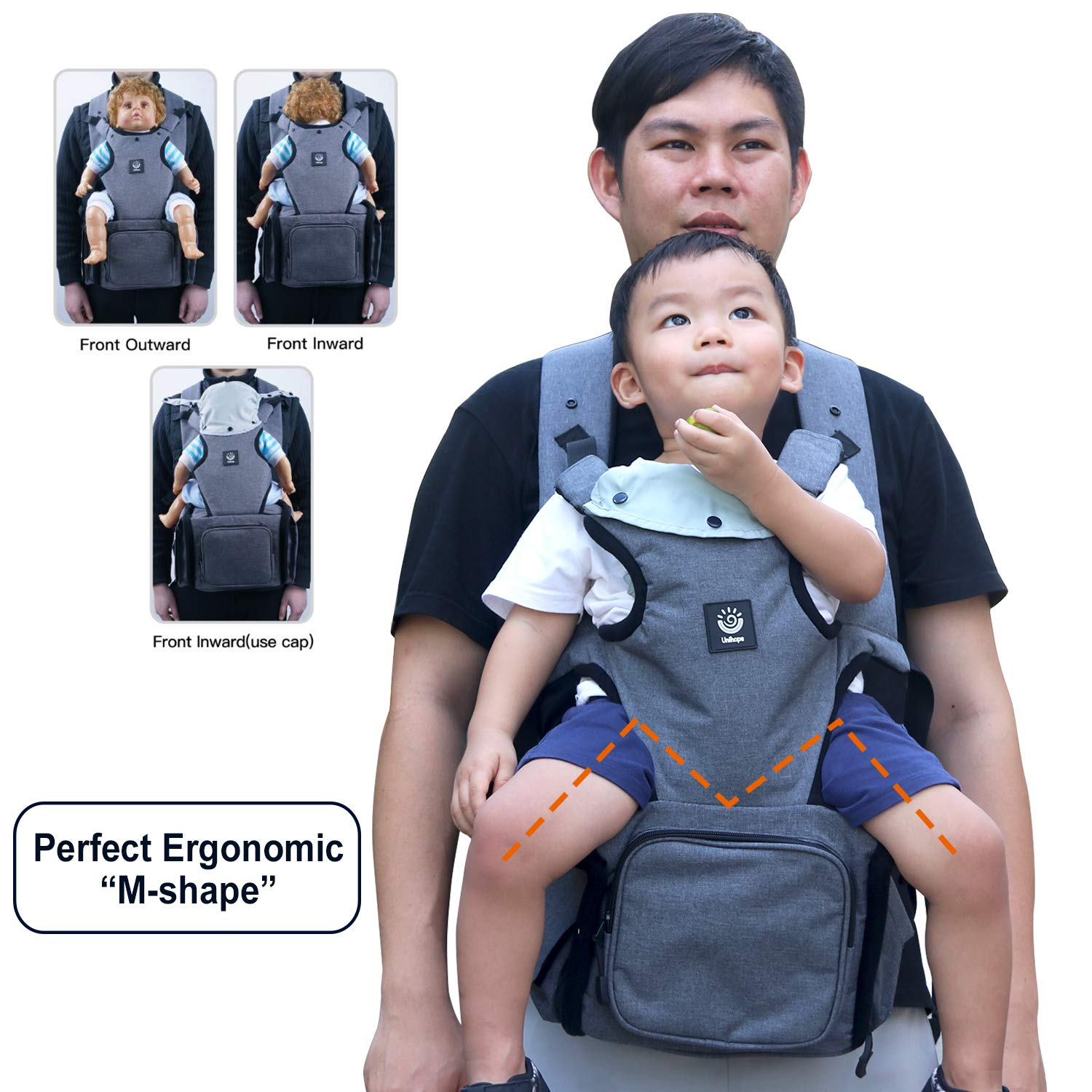 Ergonomic Baby Sling Carrier Bag - Baby Wrap from Newborn to Toddler Baby Carrier Backpack Baby Wrap Carrier Hip seat Baby Carrier for Infants up to 44lbs/20kg Suitable for Both Moms and Dads Yushi