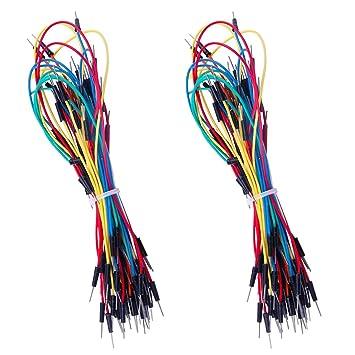 130 cables de puente flexibles sin soldadura, 4 longitudes diferentes macho a macho para placa de Arduino: Amazon.es: Bricolaje y herramientas
