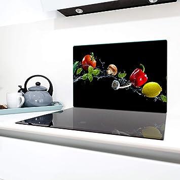 Ceranfeldabdeckung 80x52 cm Gewürze Herdabdeckplatten Spritzschutz Glas Deko