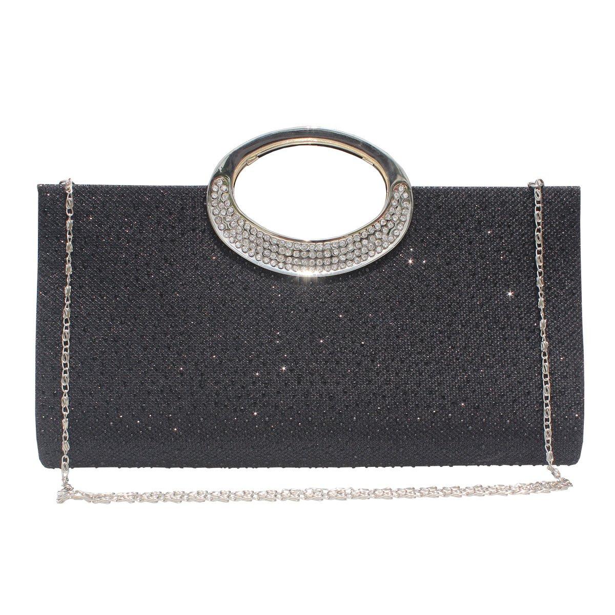 Women Rhinestone Frosted Clutch Bag Handbag Evening Party Wedding Purse.(Black) by GESU