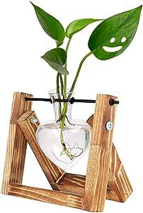 HUABEI Plant Terrarium Wooden Stand Love Shape, Air Planter Bulb Glass Vase Metal Swivel Holder Retro Tabletop Hydroponics Home Garden Office Decoration - 1 Heart Vase Frame